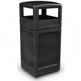 "Commercial Zone 73290199 Dome Lid Trash Can - 42 Gallon Capacity - 18 1/2"" Sq. x 41 3/4"" H - Black in Color"