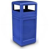 "Commercial Zone 73290499 Dome Lid Trash Can - 42 Gallon Capacity - 18 1/2"" Sq. x 41 3/4"" H - Blue in Color"