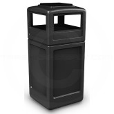 "Commercial Zone 73300199 Dome Lid with Ashtray - 42 Gallon Capacity - 18 1/2"" Sq. x 42 1/4"" H - Black in Color"