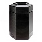 "Commercial Zone Hexagon Trash Can - 30-Gallon Capacity - 29"" H x 20"" W x 17 1/4"" D - Black"