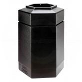 "Commercial Zone Hexagon Trash Can - 30-Gallon Capacity - 29"" H x 20"" W x 17 1/4"" D - Black"