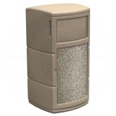 "Commercial Zone Side Entry PolyTec Waste Container - 30 Gallon Capacity - 22"" Sq. x 43"" H - Beige in Color with Riverstone Graphic"