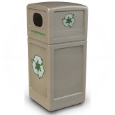 "Commercial Zone 74610299 Recycle42 Recycling Container - 42 Gallon Capacity - 18 1/2"" Sq. x 41 3/4"" H - Beige in Color"