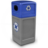 "Commercial Zone 74613499 Recycle42 Recycling Container - 42 Gallon Capacity - 18 1/2"" Sq. x 41 3/4"" H - Gray with Blue Dome Lid"