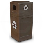 "Commercial Zone 74613799 Recycle42 Recycling Container - 42 Gallon Capacity - 18 1/2"" Sq. x 41 3/4"" H - Brown in Color"