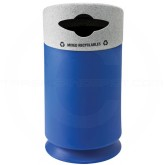 """Commercial Zone 7532434099 Galaxy Collection Recycling Receptacle with """"Mixed Recyclables"""" Lid - 35 Gallon Capacity - 21 1/2"""" Dia. x 42 1/2"""" H - Blue Base with Comet Gray Top"""