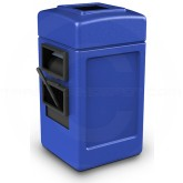 "Commercial Zone Harbor 1 Single-Sided Square Waste & Windshield Service Center - 28 Gallon Capacity - 18 1/2"" W x 19"" D x 34 1/2"" H - Blue in Color"