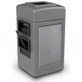 "Commercial Zone 755111 - Harbor 1 StoneTec Square Open Top Waste/Windshield Center - 28 Gallon Capacity - 18 1/2"" W x 19"" D x  34 1/2"" H - Gray with Ashtone Panels"