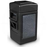 "Commercial Zone 755113 - Harbor 1 StoneTec Square Open Top Waste/Windshield Center - 28 Gallon Capacity - 18 1/2"" W x 19"" D x 34 1/2"" H - Black with Pepperstone Panels"