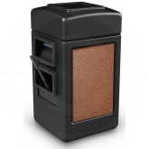 "Commercial Zone 755114 - Harbor 1 StoneTec Square Open Top Waste/Windshield Center - 28 Gallon Capacity - 18 1/2"" W x 19"" D x 34 1/2"" H - Black with Sedona Panels"