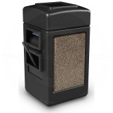 "Commercial Zone 755152 - Harbor 1 StoneTec Square Open Top Waste/Windshield Center - 28 Gallon Capacity - 18 1/2"" W x 19"" D x 34 1/2"" H - Black with Riverstone Panels"