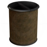 "Commercial Zone 780947 Precision Series InnRoom Decorative Vinyl Wrapped Recycling Receptacle - 3.2 Gallon Capacity - 10 1/2"" Dia. x 12 3/4"" H - Brown in Color"