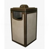 "Witt Industries 7S-2044HAB Pahokee Fiberglass Receptacle with Hide-A-Butt Ash Top - 20"" Sq. x 44"" H - 40 Gallon Capacity - Your choice of color"