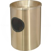 "Glaro 812BE Sand Top Wall Mounted Ash/Trash Cigarette Receptacle - 8"" Dia. x 12"" H - Satin Brass in Color"