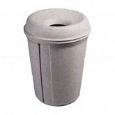 """Rubbermaid FG905886WGRAN Atrium Classic Funnel Top Trash Can - 35 Gallon Capacity - 25"""" Dia. x 33 1/3"""" H - White Granite in Color"""