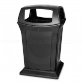 "Rubbermaid 9173-88 45 Gallon Ranger Classic Container with 4 Openings - 24.88"" Sq. x 41 1/2"" H - Black in Color"