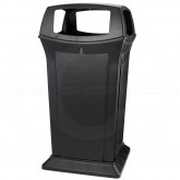 "Rubbermaid 9176 65 Gallon Ranger Classic Container with 4 Openings - 24.88"" Sq. x 49 1/4"" H - Black in Color"
