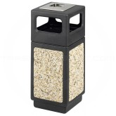 "Safco 9470NC Canmeleon Aggregate Panel Ash/Trash Dome Lid Receptacle - 15 Gallon Capacity - 13 3/4"" Sq x 32 3/4"" H - Black with Riverstone Panels"