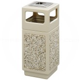 """Safco 9470TN Canmeleon Aggregate Panel Ash/Trash Dome Lid Receptacle - 15 Gallon Capacity - 13 3/4"""" Sq. x 32 3/4"""" H - Tan with Riverstone Panels"""