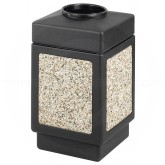 "Safco 9471NC Canmeleon Aggregate Panel Open Top Waste Receptacle - 38 Gallon Capacity - 18 1/4"" Sq. x 31 1/2"" H - Black with Riverstone Panels"