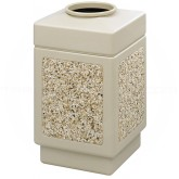 "Safco 9471TN Canmeleon Aggregate Panel Open Top Waste Receptacle - 38 Gallon Capacity - 18 1/4"" Sq. x 31 1/2"" H - Tan with Riverstone Panels"