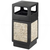 "Safco 9472NC Canmeleon Aggregate Panel Dome Lid Waste Receptacle - 38 Gallon Capacity - 18 1/4"" Sq. x 39 1/4"" H - Black with Riverstone Panels"
