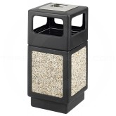 "Safco 9473NC Canmeleon Aggregate Panel Ash/Trash Dome Lid Receptacle - 38 Gallon Capacity - 18 1/4"" Sq. x 39 1/4"" H - Black with Riverstone Panels"