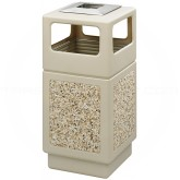 "Safco 9473TN Canmeleon Aggregate Panel Ash/Trash Dome Lid Receptacle - 38 Gallon Capacity - 18 1/4"" Sq. x 39 1/4"" H - Tan with Riverstone Panels"