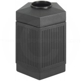 "Safco 9486BL Canmeleon Pentagon Open Top Waste Receptacle - 45 Gallon Capacity - 24"" L x 23"" W x 28 3/4"" H - Black in Color"