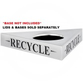 "Safco 9560RE Trifecta ""Recycle"" Recycling Top - TOP ONLY - 20"" L x 20"" W x 3"" H - Stainless Steel"