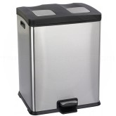 "Safco 9634SS Right-Size Dual Recycling Step On Waste Receptacle - 15 Gallon Capacity - 19"" L x 16"" W x 25"" H - Stainless Steel"