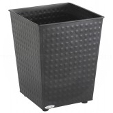 "Safco 9733BK Square Checks Steel Wastebasket - 1 Pack of 3 - 6 Gallon Capacity - 10 1/2"" Sq. x 12 1/2"" H - Black in Color"