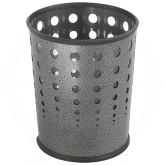 "Safco 9740NC Round Bubble Steel Wastebasket - 1 Pack of 3 - 6 Gallon Capacity - 11.625"" Dia. x 12 1/2"" H - Black Speckle in Color"
