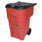 Rubbermaid FG9W2000RED BRUTE Medical Waste Rollout Container with Keyed Lock Lid - 95 Gallon Capacity - Red in Color