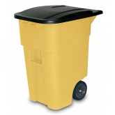 Rubbermaid FG9W2700YEL BRUTE Rollout Container with Lid - 50 Gallon Capacity - Yellow in Color