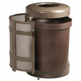 "Rubbermaid FGA38SDABZPL Covered Top Side Door Trash Can with Keyed Cam Lock - 38 Gallon Capacity - 24"" Dia. x 43"" H - Disposal Opening is 6"" H x 14 1/2"" W- Architectural Bronze/Sand in Color"