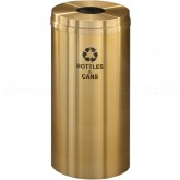 "Glaro B1532BE Recycle Pro 1 Receptacle with Round Opening - 16 Gallon Capacity - 15"" Dia. x 31"" H - Satin Brass"