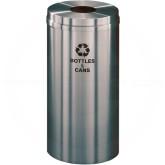 "Glaro B1532SA Recycle Pro 1 Receptacle with Round Opening - 16 Gallon Capacity - 15"" Dia. x 31"" H - Satin Aluminum"