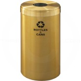 "Glaro B1542BE RecyclePro Single Unit Recycling Bin with Round Hole - 23 Gallon Capacity - 15"" Dia. x 30"" H - Satin Brass"