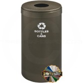 "Glaro B1542BV RecyclePro Single Unit Recycling Bin with Round Hole - 23 Gallon Capacity - 15"" Dia. x 30"" H - Bronze Vein in Color"