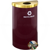 "Glaro B1899VBYBE RecyclePro Value Half Round Receptacle with 4-7/8"" Dia. Hole in Lid - 16 Gallon Capacity - 30"" H x 18"" W x 9"" D - Burgundy with Satin Brass Top"