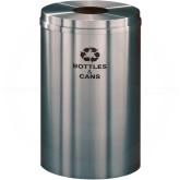 "Glaro B2032SA Recycle Pro 1 Receptacle with Round Opening - 33 Gallon Capacity - 20"" Dia. x 31"" H - Satin Aluminum"
