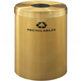 "Glaro B2042BE RecyclePro Single Unit Recycling Container with Round Opening - 41 Gallon Capacity - 20"" Dia. x 30"" H - Satin Brass"