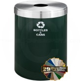 "Glaro B2042HGSA RecyclePro Single Unit Recycling Container with Round Opening - 41 Gallon Capacity - 20"" Dia. x 30"" H - Hunter Green with Satin Aluminum Top"