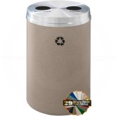 "Glaro BC2032 Recycle Pro 2 Recycling Can with Two Round Openings - 33 Gallon Capacity - 20"" Dia. x 31"" H - Your choice of color"
