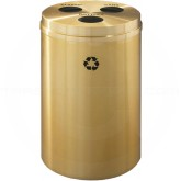 "Glaro BCB20BE Recycle Pro 3 Recycling Can with Three Hole Openings - 33 Gallon Capacity - 20"" Dia. x 31"" H - Satin Brass"