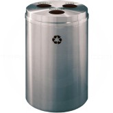 "Glaro BCB20SA Recycle Pro 3 Recycling Can with Three Hole Openings - 33 Gallon Capacity - 20"" Dia. x 31"" H - Satin Aluminum"