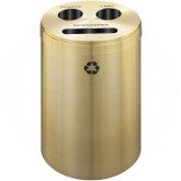 "Glaro BCP20BE Recycle Pro 3 Recycling Can with Paper Recycling Slot and Two Round Openings - 33 Gallon Capacity - 20"" Dia. x 31"" H - Satin Brass"