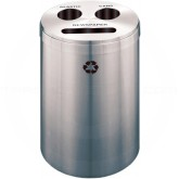 "Glaro BCP20SA Recycle Pro 3 Recycling Can with Paper Recycling Slot and Two Round Openings - 33 Gallon Capacity - 20"" Dia. x 31"" H - Satin Aluminum"