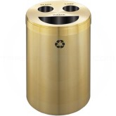 "Glaro BCT20BE Recycle Pro 3 Recycling Can with Half Round Opening and Two Hole Openings - 33 Gallon Capacity - 20"" Dia. x 31"" H - Satin Brass"